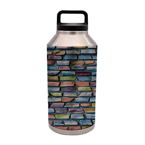 TecBillion Geometric Decor Durable 64OZ Stainless Steel Bottle,Colorful Mosaic Textured Sketchy Brick Wall Display Glossy Grid Modern Artwork for Home Travel Office,4