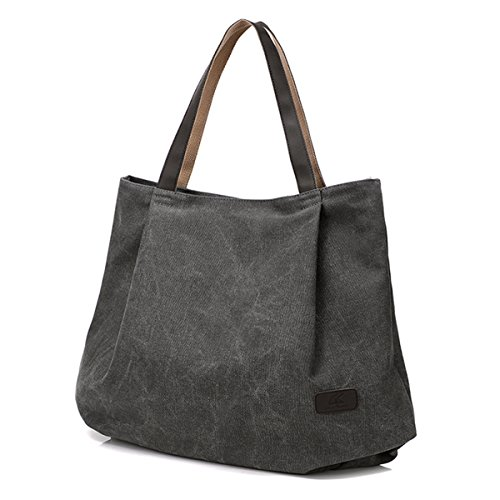 ZhmThs Canvas Tote Bags For Women, Shoulder Bag Casual Big Shopping Bags Handbag Work Travel Bags For Women Girls Ladies – Grey