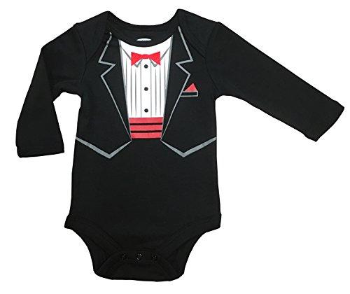New Cummerbund - Assorted Party, Tuxedo Boys & Girls Happy New Year Bodysuit Dress Up Outfit (18 Months, Tuxedo - With Bow Tie & Cummerbund)