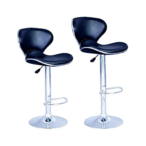 New Modern Adjustable Synthetic Leather Swivel Bar Stools Chairs Sets Of 2