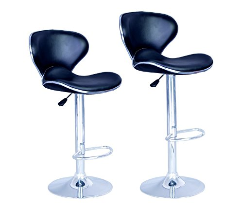 New Modern Adjustable Synthetic Leather Swivel Bar Stools Chairs-Sets of 2 ()