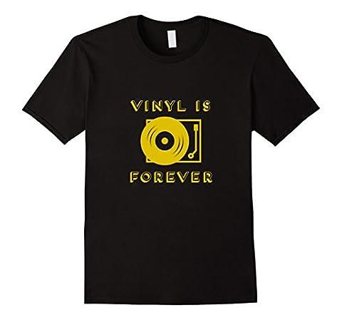 Mens Vinyl is Forever T Shirt | DJ Turntable XL Black - Records Vintage T-shirt