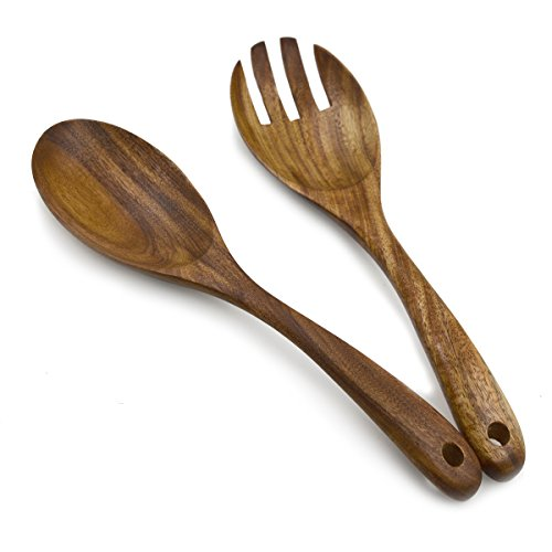 Muso Wood Acacia Salad Servers,10-inch,set of 2 (Acacia salad servers)