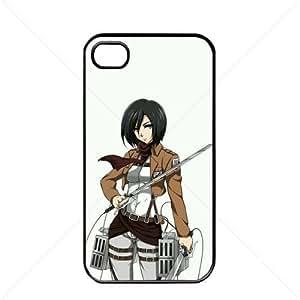 Shingeki no Kyojin Attack on Titan Manga Anime Comic Mikasa Ackerman Apple iPhone 4 / 4s TPU Soft Black or White case (Black)