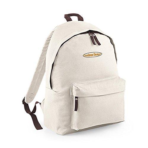 Kinderrucksack für die Schule oder auch für Freizeitaktivitäten cooler Rucksack mit bedrucktem Logo Goodman Design wollweiß