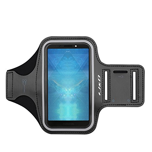 J&D Armband Compatible for Moto G6 Play Armband, Sports Armband with Key Holder Slot for Motorola Moto G6 Play Running Armband, Perfect Earphone Connection While Workout Running - Black