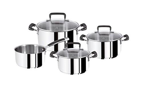 Tefal E97790 Gourmet Series Topf-Set (induktionsgeeignet, Kochtöpfe mit Deckel Ø 16, 20, 24 cm, Kasserolle ohne Deckel Ø 16 cm) 7-teilig