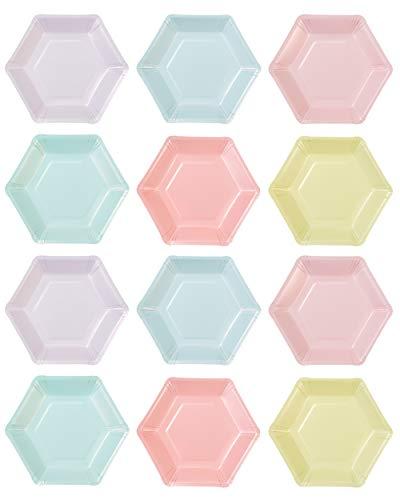 Talking Tables Set van 12 Pastel Verjaardagsborden .6 kleuren, zeshoekig, papier .Wegwerpservies voor elke gelegenheid…