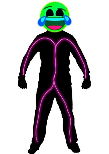 GlowCity Light Up Super Bright Laughing Emoji Stick Figure Costume For Parties, Pink - (Halloween Costume Stick Figure Glow Sticks)
