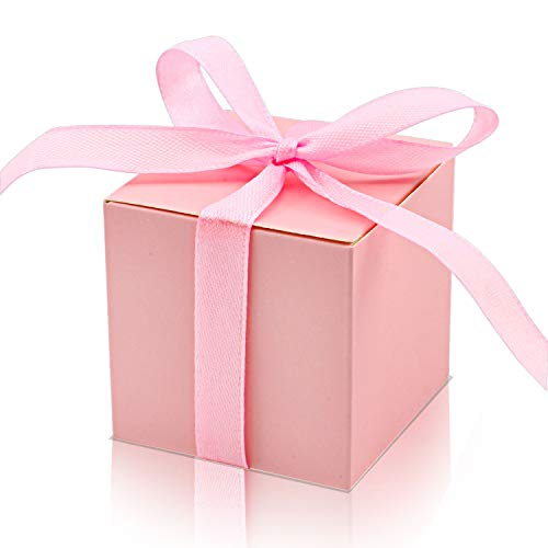 (KPOSIYA 70 Pack Favor Boxes 2x2x2 inch Candy Boxes Pink Gift Boxes with Ribbons for Wedding Baby Shower Decorations Birthday Party Supplies (Pink, 70))