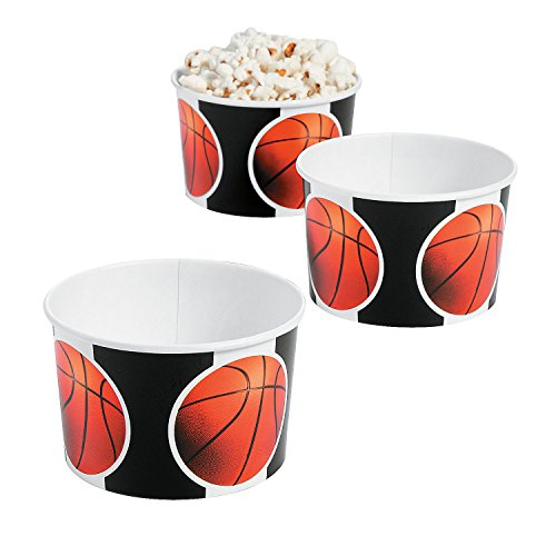 - Fun Express - Basketball Snack Bowls for Party - Party Supplies - Print Tableware - Print Plates & Bowls - Party - 12 Pieces