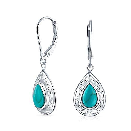- Bali Style Stabilized Turquoise Pear Shaped Leverback Scroll Filigree Drop Dangle Earrings For Women Sterling Silver