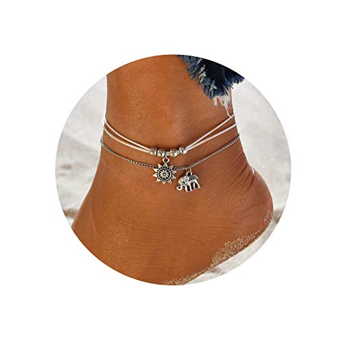 LANG XUAN Foot Chain Elephant Jewelry Multiple Layered Boho Charm Adjustable Anklet for Women ()