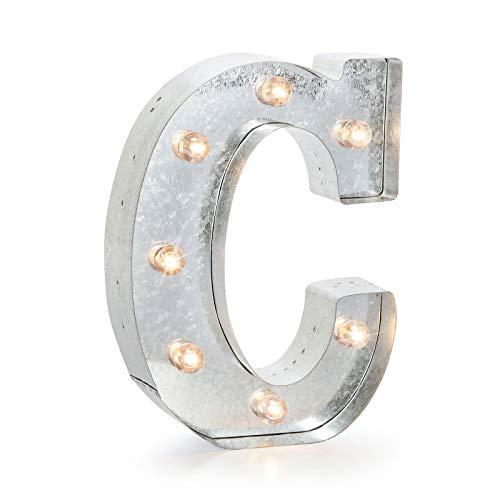 Darice 9.875 Metal Marquee Silver C,