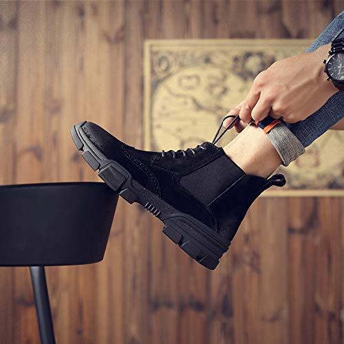 Large Uomo Size Casual Stivaletti Stringate Antiscivolo Spesso Da Stivali Moda Scarpe Black Pelle Tacco 41 Tondo Martin tqXUwR
