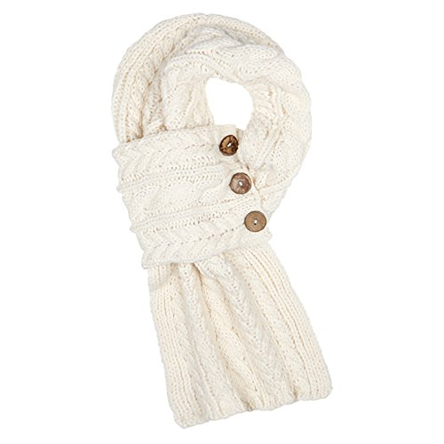 Aran Traditions Cable Knit Wrap Button Scarf (Cream) ()