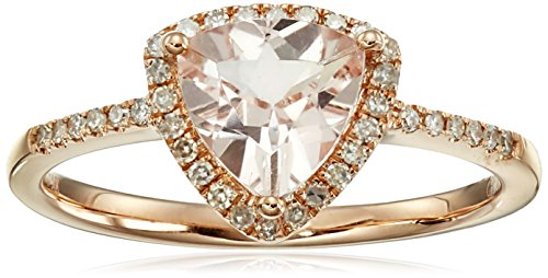 14k Rose Gold Morganite and Diamond Trillion Ring (1/6cttw, H-I Color, I1-I2 Clarity), Size 7 Diamond Trillion Twist Ring