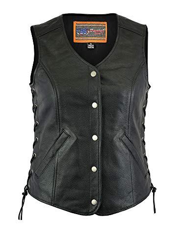 Women's Motorcycle Riding Stylish Longer Body 3/4 Leather Vest (L)