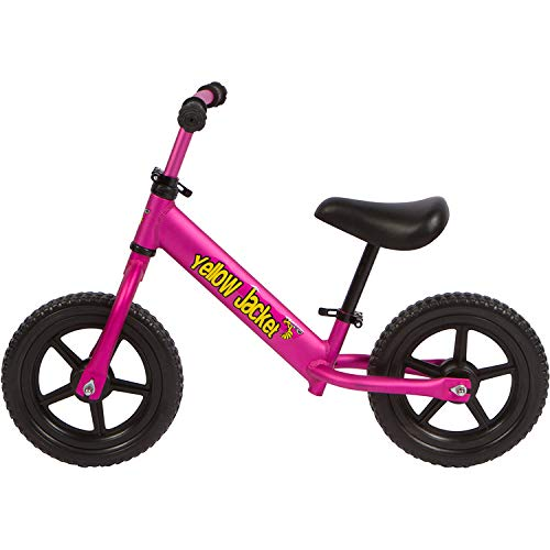 Yellow Jacket Kids Balance Bike - Glider Push Bike for Kids, Toddlers Ages 2, 3, 4 & 5 Years Old Boys and Girls, No Pedal Control Walking Bicycle - Ultra Lightweight, Pink