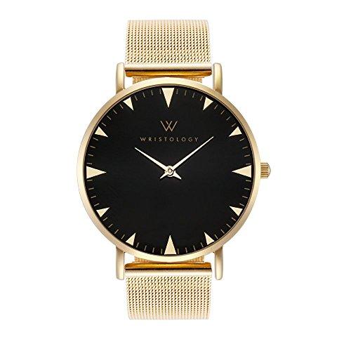 WRISTOLOGY Stella Womens Gold Minimalist Black Wrist Watch Gold Metal Mesh Easy Change Band