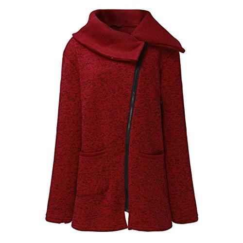 Lunga Donna Vino Rosso Dayseventh Rivestimento Del Felpa Tasche Sportiva Autunno Cappotto Unico Inverno Zip RWFwBYq