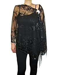 Womens Mother Of The Bride Floral Sequin Design Fashion Shawl With Brooch Poncho Cover up