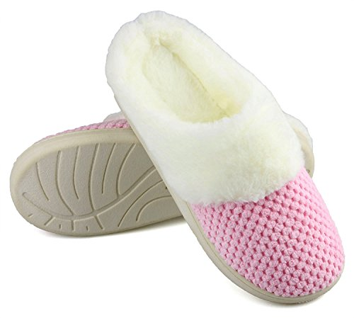 Pink Lined Fur Indoor Slippers House Skid Rubber Anti Soft Women's Slippers Faux Sole Memory Foam w pXxUZ