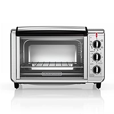 BLACK+DECKER TO3230SBD 6-Slice Convection Countertop Toaster Oven, Includes Bake Pan, Broil Rack & Toasting Rack, Stainless Steel Convection Toaster Oven