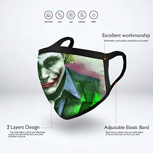 Dean Carnegie Jo_ker Face Mask Adjustable Mouth Mask Anti Dust Face Mouth Mask Reusable Mask for Cycling Camping Travel