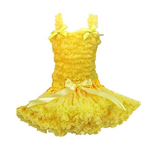 Buenos Ninos Girl's Pure Chiffon Dance Pettiskirt Tutu Set Various Color Yellow 3-4T