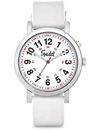 Speidel Scrub Glow Watch for Medical Professionals with Scrub Matching White Silicone Band, Easy to Read Light Up Dial, Second Hand, Military Time for Nurses, Doctors, Students