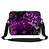Meffort Inc 11 11.6 12 Inch Neoprene Laptop Sleeve Bag Carrying Case with Hidden Handle and Adjustable Shoulder Strap - Purple Heart Butterfly