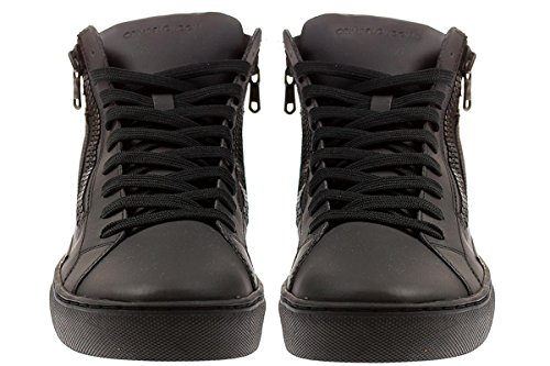 STIVALETTO UOMO CRIME LONDON STRINGATA LEATHER BLACK OPACO CON 2 ZIP LATERALI - 40, BLACK