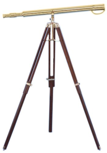 Hampton Nautical Solid Brass Galileo Stand Telescope, 62', Brass