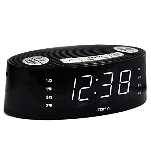 iTOMA Alarm Clock Radio, Digital AM FM, Dual Alarm, Snooze, Dimmer Control, Indoor Temperature Display, Countdown Timer, Backup Battery (CKS3301B) (30 Hour Battery Backup)