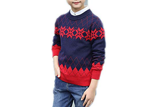 MZjJPN Winter Boy's O-Neck Pullover Knitting Sweater for Boys Kids Clothes Sweater Children's Clothing Red 6