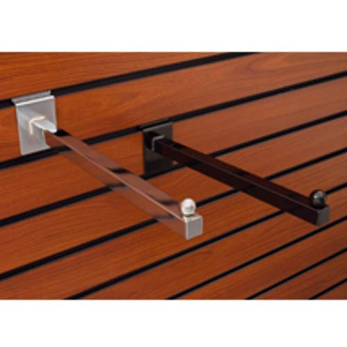 Square Faceout Bracket for Slatwall with Chrome Finish 12 Inch - Count of 10