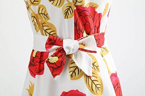 de Línea Sin Fiesta A Vintage Vestidos Plisados Jitong para Mujer Floral Vestido Impreso 1 Swing Mangas Playa Noche de Rwx8InZIqE