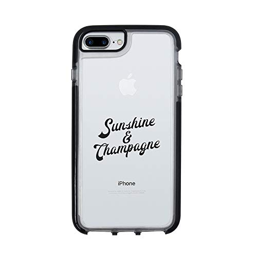 (Ultra Slim iPhone Case - Silicone Protective Cover - Compatible for iPhone 7 - Sunshine and Champagne - Sassy Queen - Funny - Cool Case - Drunk - Black Flexible Soft TPU Cover Case)