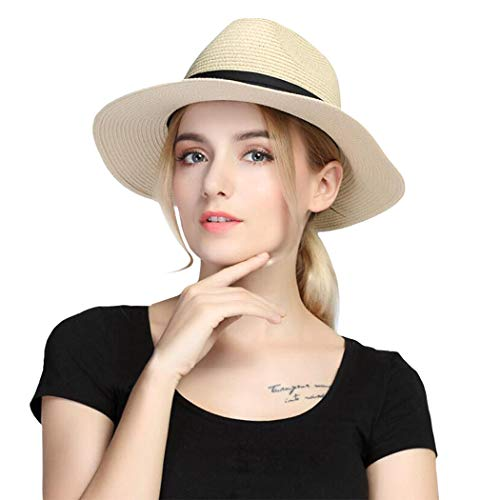 (Taylormia Womens UPF 50+ Wide Brim Panama Straw Hat Foldable Fedora Beach Sun Hat Khaki)