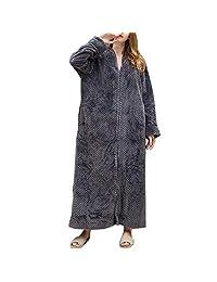 StarTreene Fleece Robe Zipper Closure Full Length Fluffy Dress Gown Pocket