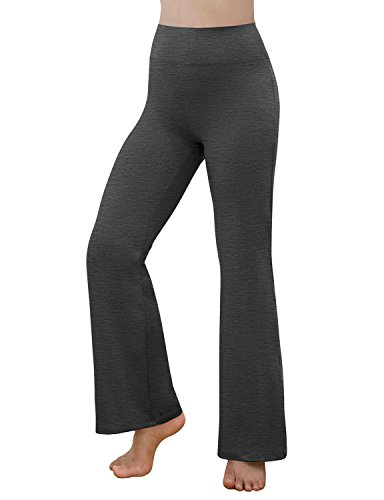 REETOYO Women's Power Flex Tummy Control Workout Yoga Boot Cut Flares Pants with Inner Pocket, Charcoal Heather, Small