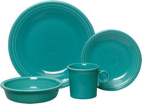 Fiesta 4-Piece Dinnerware Place Setting, Turquoise (Piece Setting Place 4 Blue)
