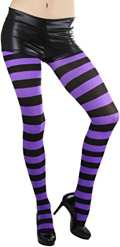 ToBeInStyle Women's Full Footed Wide Striped Tights (Plus Size, BLACK AND PURPLE)