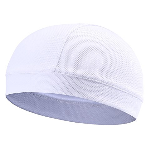 re Wicking Elastic Skull Cap Helmet Liner Bandana Beanie Hat for Outdoor Cycling Running Sport Motorcycle Polyester, White ()