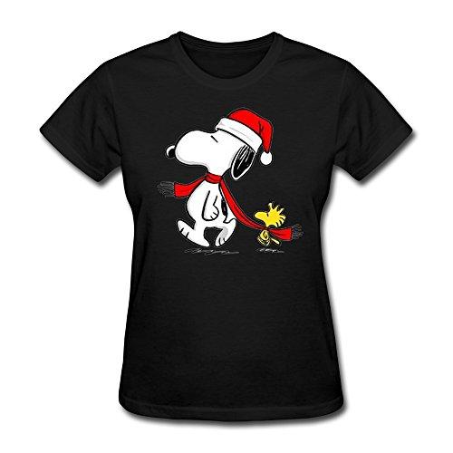 Woodstock Girl Costumes (SHFL Women's Snoopy Woodstock Christmas 100% Cotton Shirt Black L)