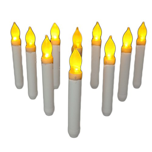 12 PCS Flameless Led Taper Candle, Ivory Mini Dipped Flickering Candle Lights AA Battery Electronic Candles for Wedding,Halloween,Thanksgiving -