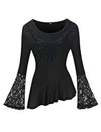 Womens Summer Casual Plus Size Solid O-Neck Lace Patchwork Hollow Out Flare Sleeve Ruffle Pleated Slash T-Shirt Tops