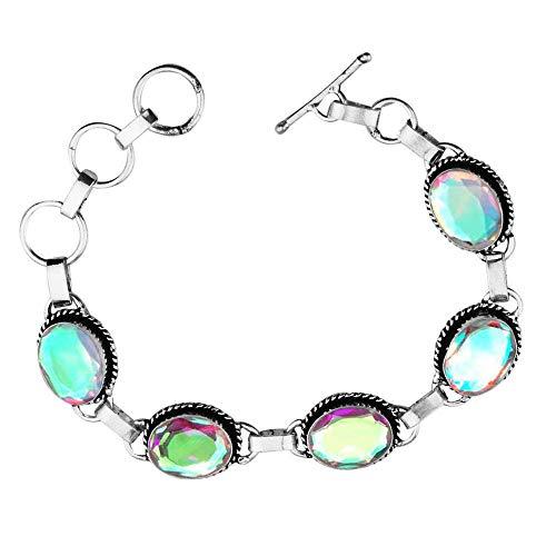 Oval Shape Simulated Mystic Quartz Tennis Link Bracelet 925 Silver Overlay Handmade Vintage Bohemian Style Jewelry for Women Girls