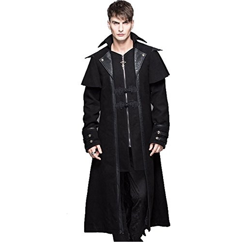 Gothic Men Fashion Long Jacket Coat Steampunk Casual Windbreaker Overcoat (XL) (Steampunk Fashion Male)